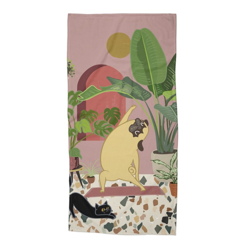 Pug Yoga with Plants Accessories Beach Towel by huebucket's Artist Shop