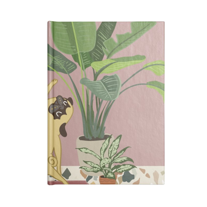 Pug Yoga with Plants Accessories Lined Journal Notebook by huebucket's Artist Shop