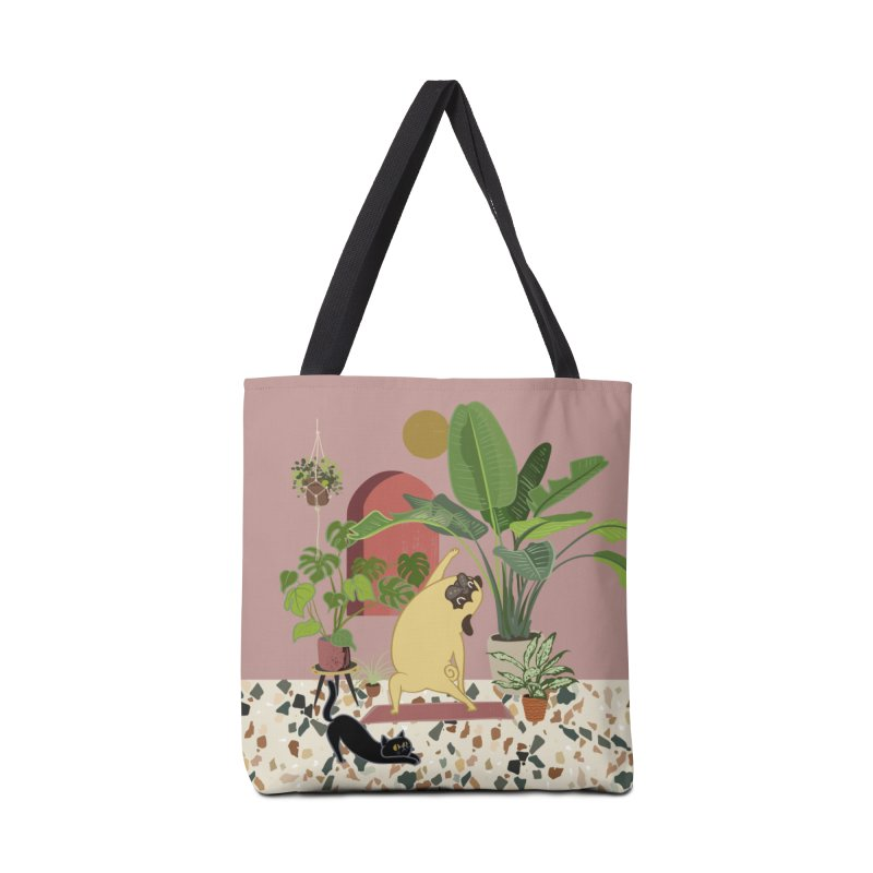 Pug Yoga with Plants Accessories Tote Bag Bag by huebucket's Artist Shop