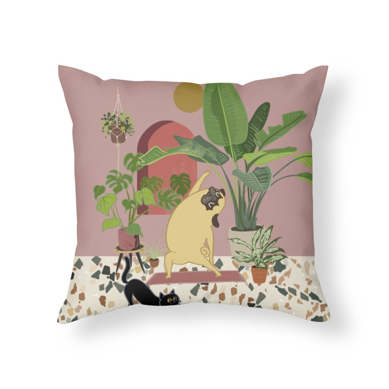 Pug Yoga with Plants Home Throw Pillow by huebucket's Artist Shop