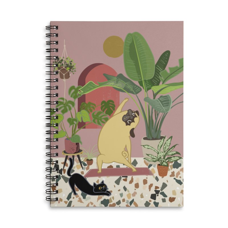 Pug Yoga with Plants Accessories Lined Spiral Notebook by huebucket's Artist Shop