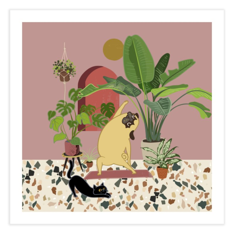 Pug Yoga with Plants Home Fine Art Print by huebucket's Artist Shop