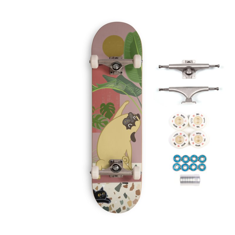 Pug Yoga with Plants Accessories Complete - Premium Skateboard by huebucket's Artist Shop