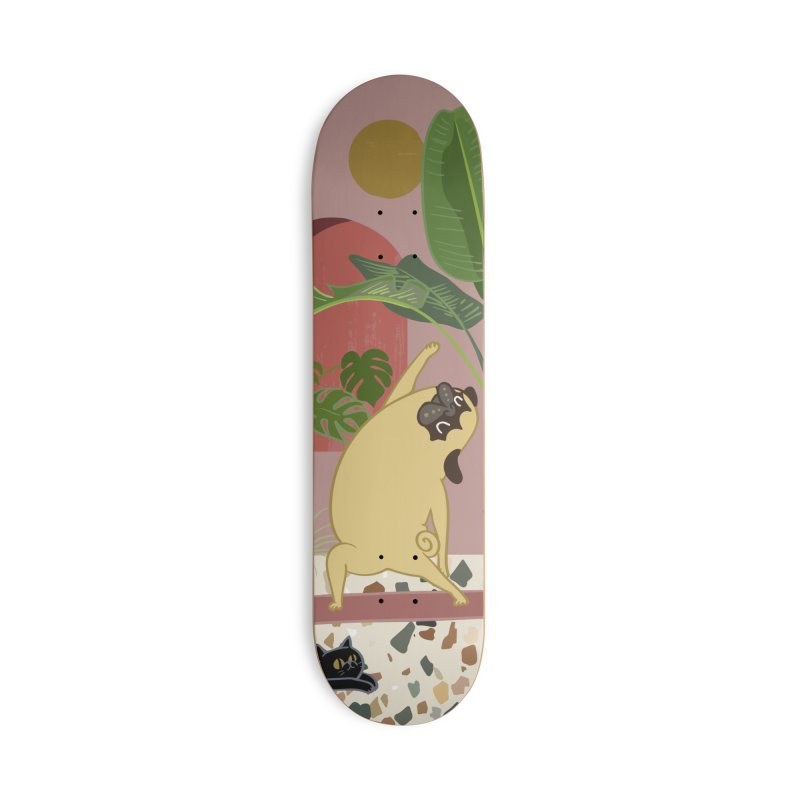 Pug Yoga with Plants Accessories Deck Only Skateboard by huebucket's Artist Shop