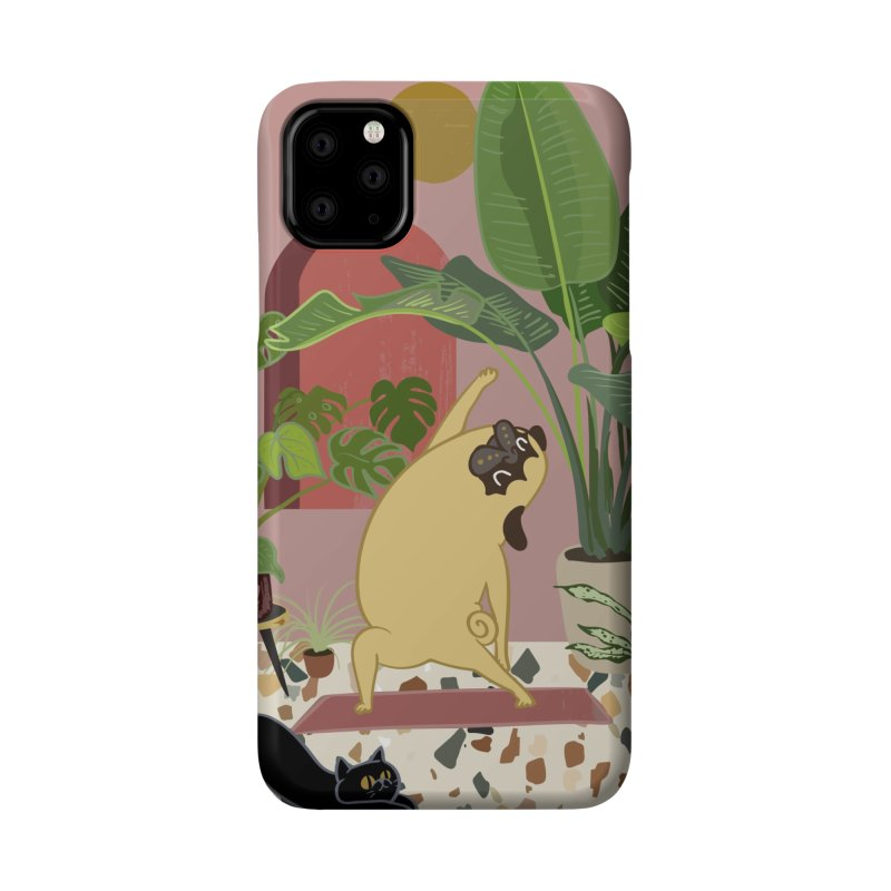 Pug Yoga with Plants Accessories Phone Case by huebucket's Artist Shop