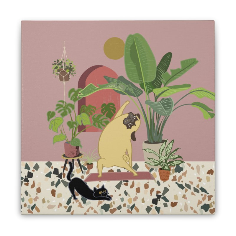 Pug Yoga with Plants Home Stretched Canvas by huebucket's Artist Shop