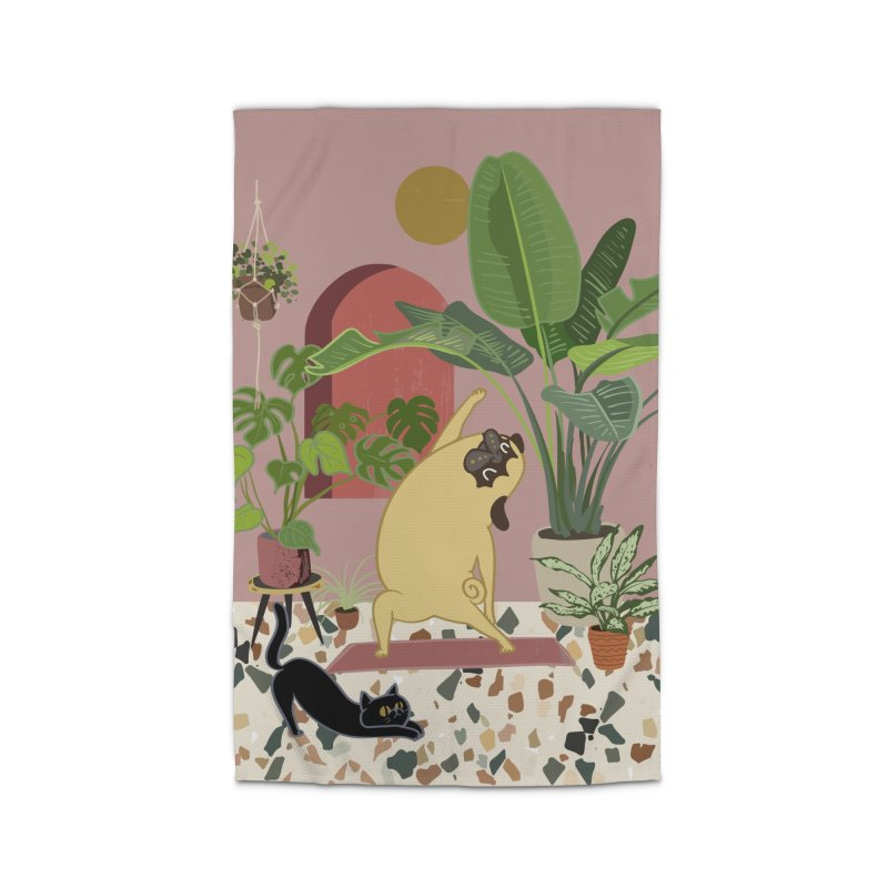 Pug Yoga with Plants Home Rug by huebucket's Artist Shop