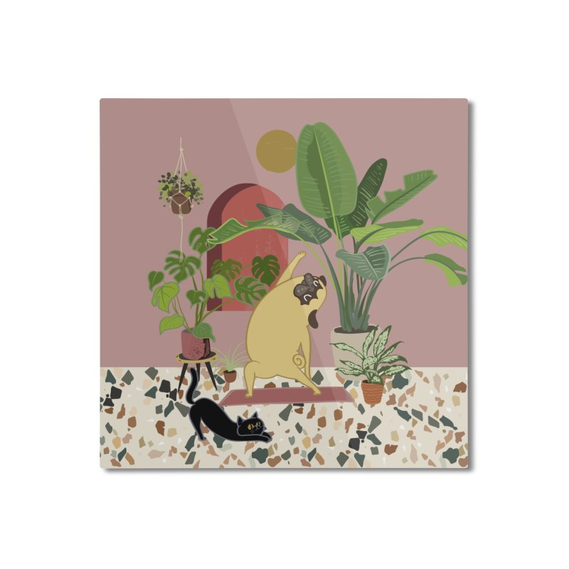 Pug Yoga with Plants Home Mounted Aluminum Print by huebucket's Artist Shop