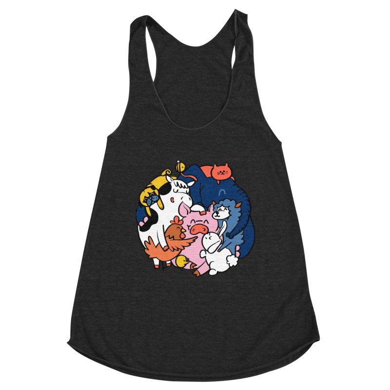 Vegan group hugs Women's Racerback Triblend Tank by huebucket's Artist Shop