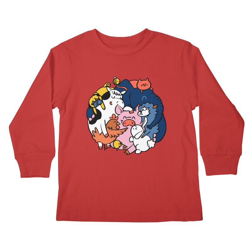 Vegan group hugs Kids Longsleeve T-Shirt by huebucket's Artist Shop