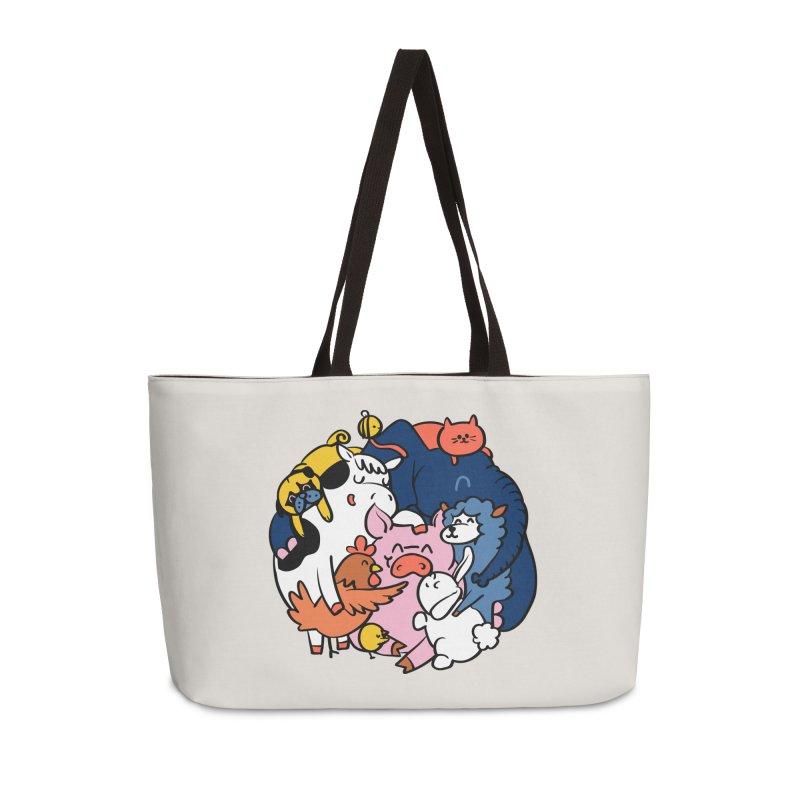 Vegan group hugs Accessories Weekender Bag Bag by huebucket's Artist Shop