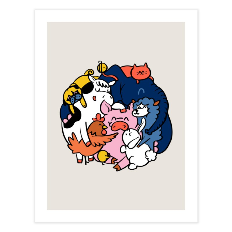 Vegan group hugs Home Fine Art Print by huebucket's Artist Shop
