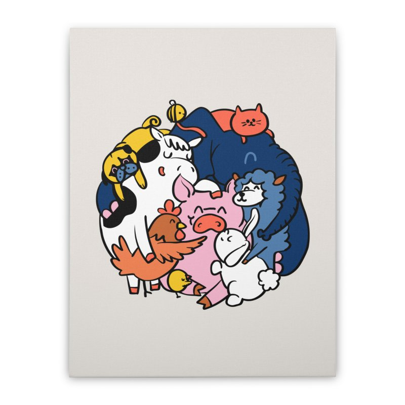 Vegan group hugs Home Stretched Canvas by huebucket's Artist Shop