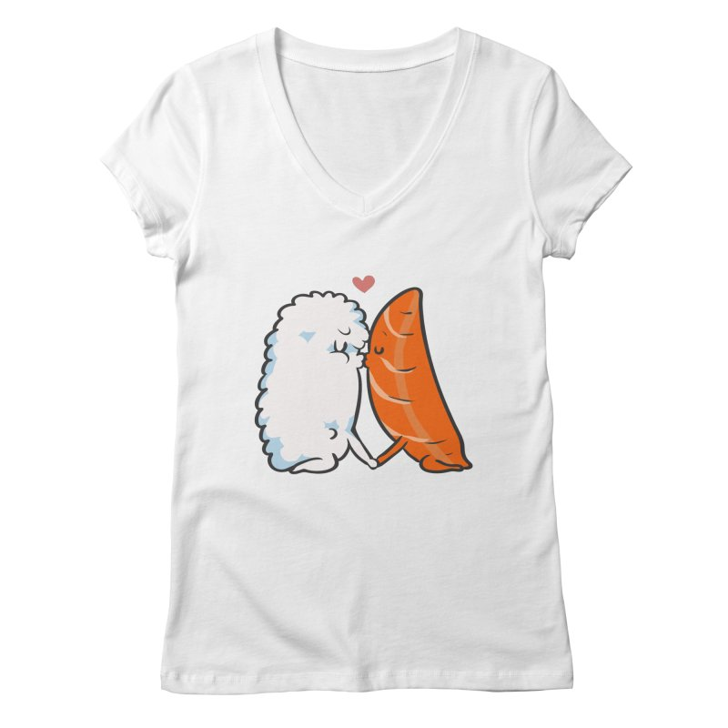 Sushi Kisses Women's Regular V-Neck by huebucket's Artist Shop