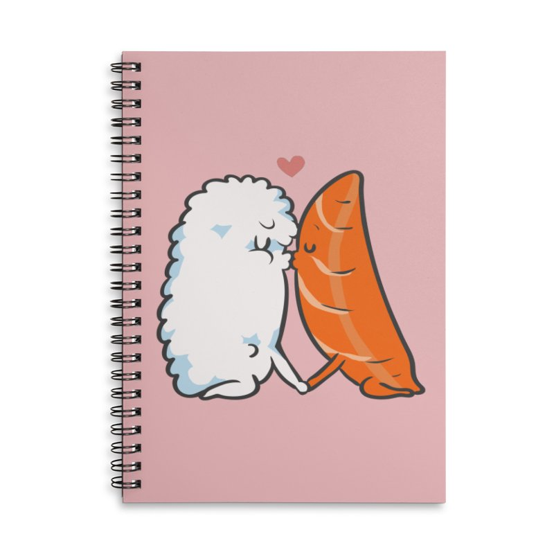 Sushi Kisses Accessories Lined Spiral Notebook by huebucket's Artist Shop