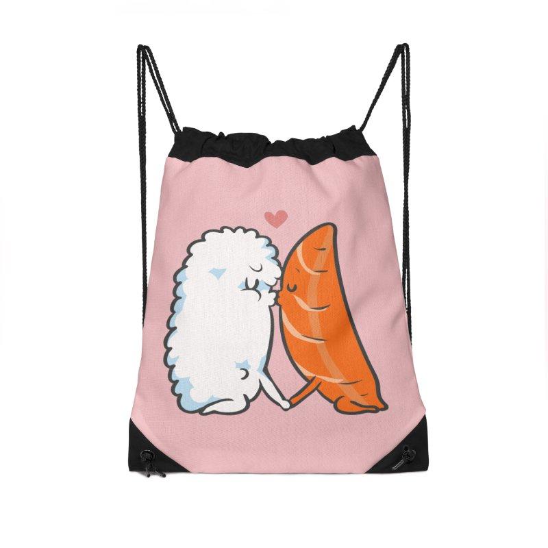 Sushi Kisses Accessories Drawstring Bag Bag by huebucket's Artist Shop