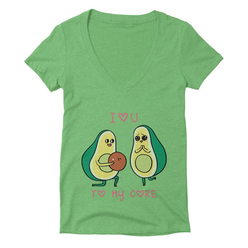 Love U to My Core Avocado Women's Deep V-Neck V-Neck by huebucket's Artist Shop
