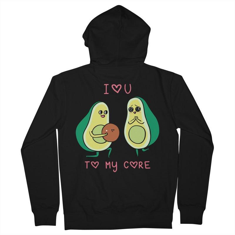 Love U to My Core Avocado Men's French Terry Zip-Up Hoody by huebucket's Artist Shop