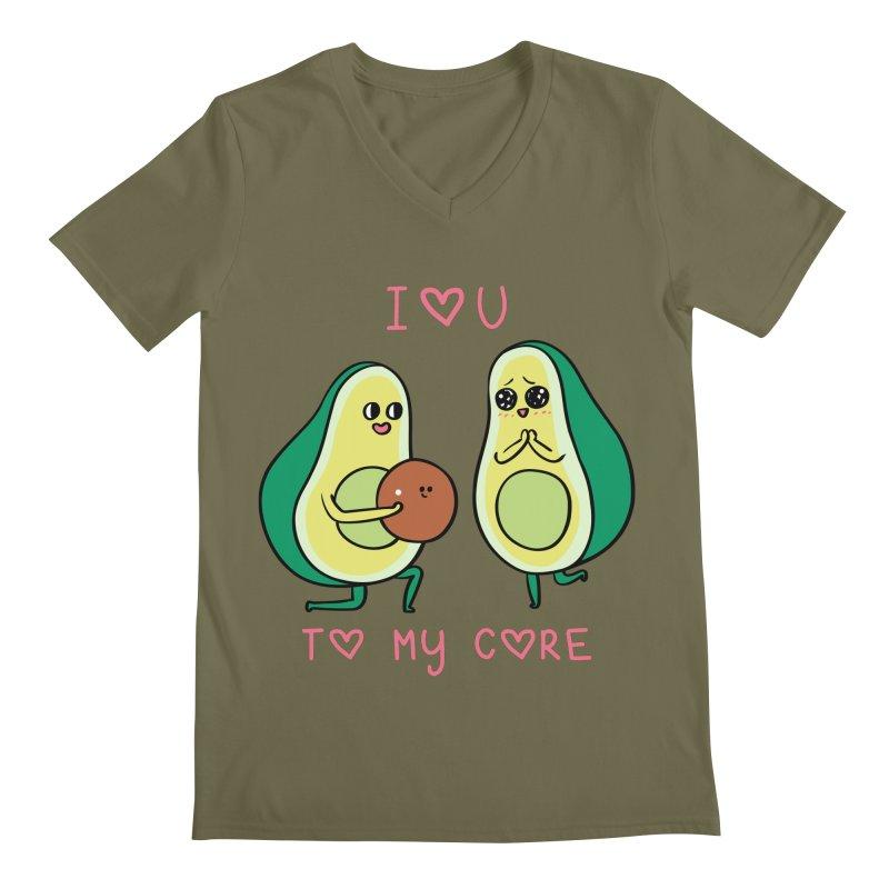 Love U to My Core Avocado Men's Regular V-Neck by huebucket's Artist Shop