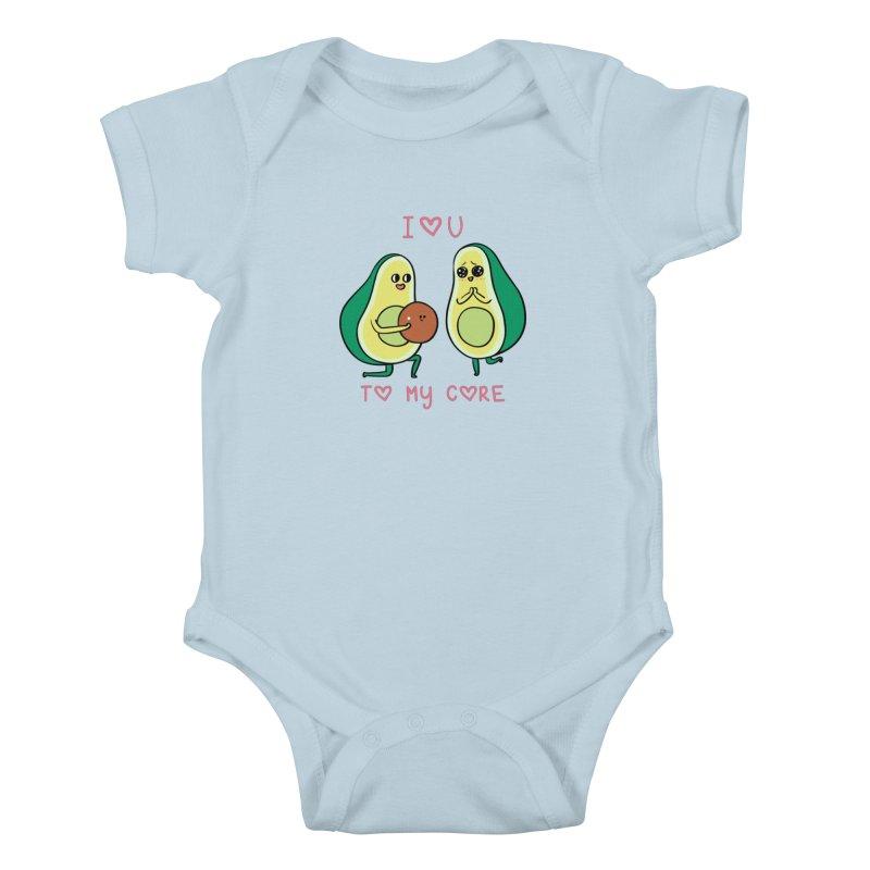 Love U to My Core Avocado Kids Baby Bodysuit by huebucket's Artist Shop