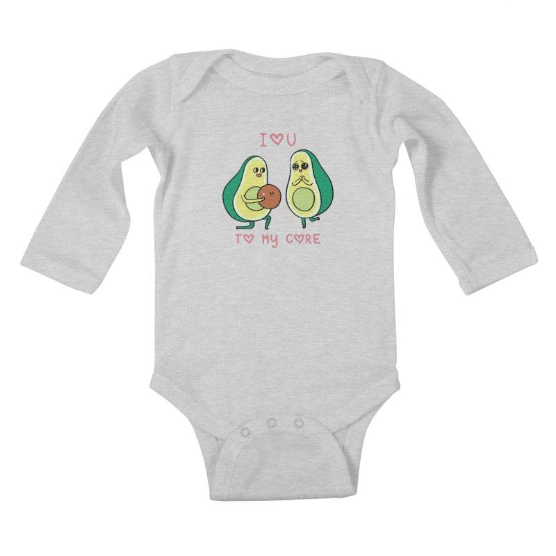 Love U to My Core Avocado Kids Baby Longsleeve Bodysuit by huebucket's Artist Shop