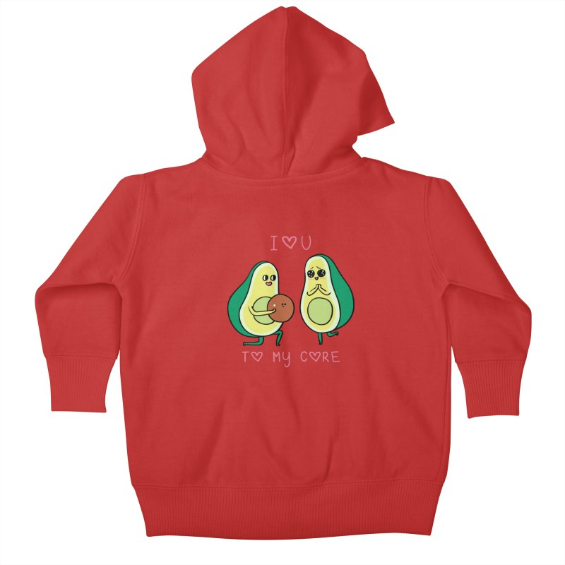 Love U to My Core Avocado Kids Baby Zip-Up Hoody by huebucket's Artist Shop