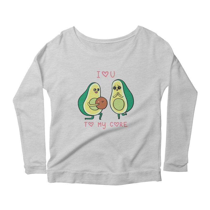 Love U to My Core Avocado Women's Scoop Neck Longsleeve T-Shirt by huebucket's Artist Shop