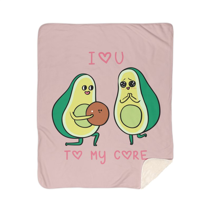 Love U to My Core Avocado Home Sherpa Blanket Blanket by huebucket's Artist Shop