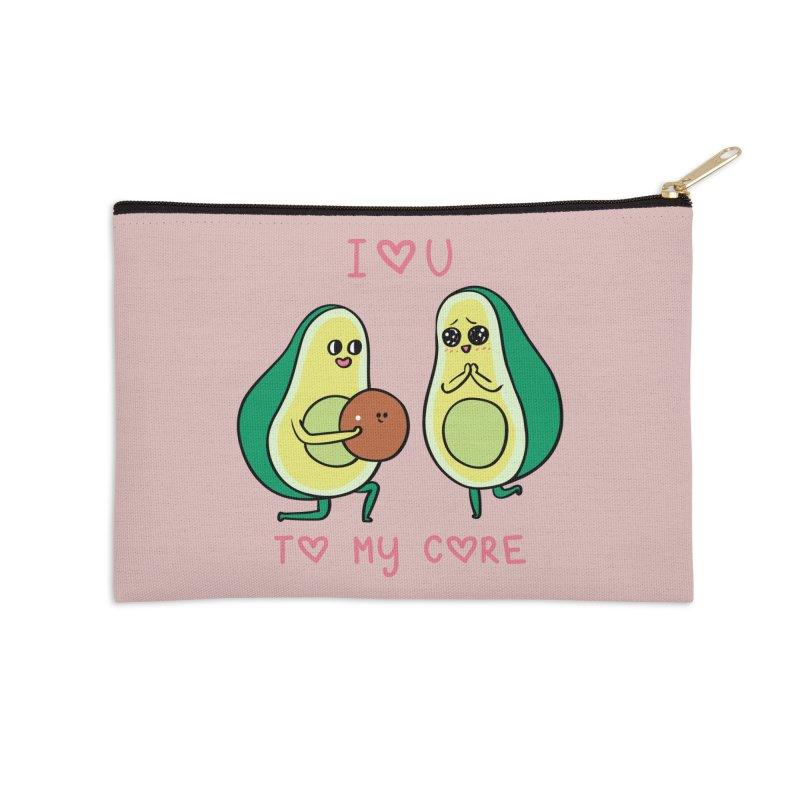 Love U to My Core Avocado Accessories Zip Pouch by huebucket's Artist Shop