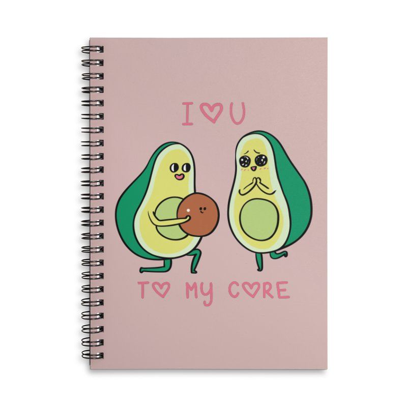 Love U to My Core Avocado Accessories Lined Spiral Notebook by huebucket's Artist Shop