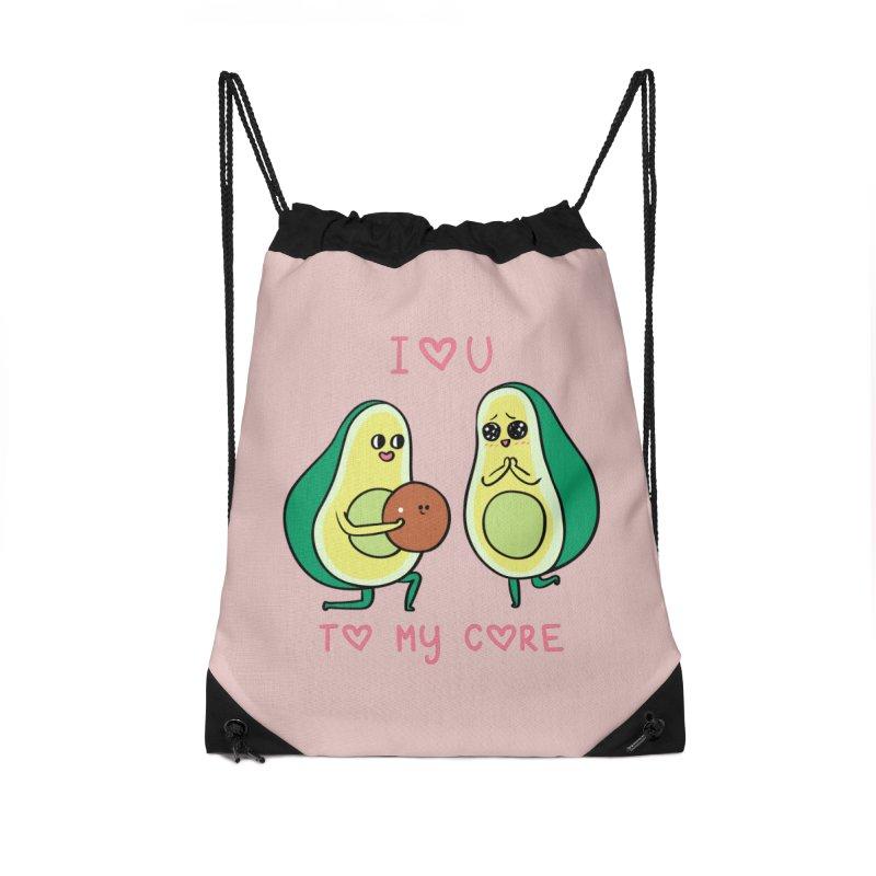 Love U to My Core Avocado Accessories Drawstring Bag Bag by huebucket's Artist Shop