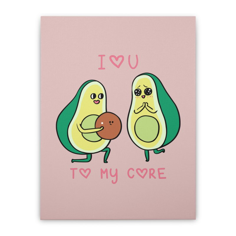 Love U to My Core Avocado Home Stretched Canvas by huebucket's Artist Shop