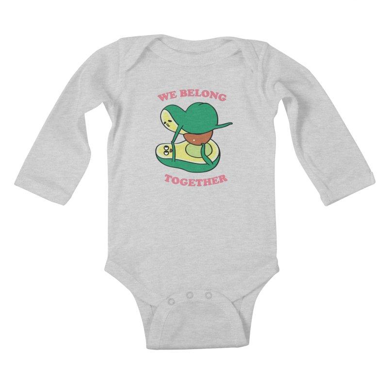 We Belong Together Avocado Yoga Kids Baby Longsleeve Bodysuit by huebucket's Artist Shop