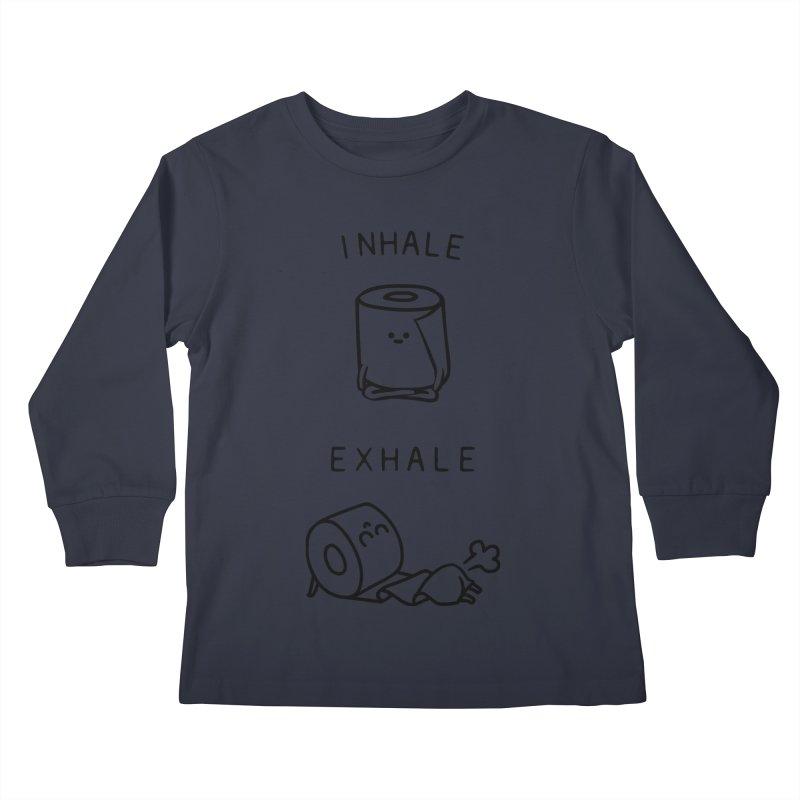 Inhale Exhale Toilet Paper Kids Longsleeve T-Shirt by huebucket's Artist Shop