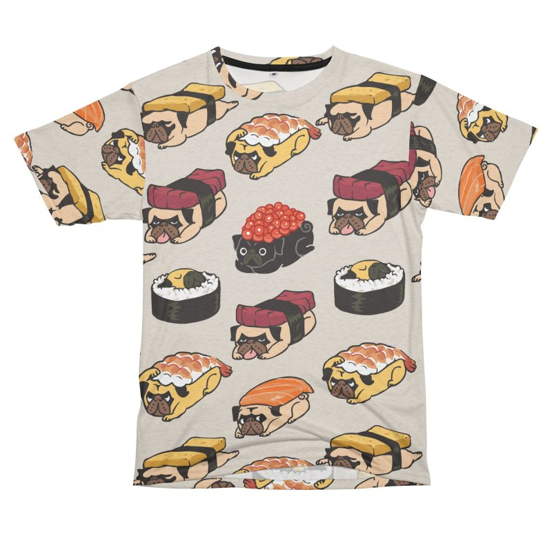 Pug Sushi Men's French Terry T-Shirt Cut & Sew by huebucket's Artist Shop