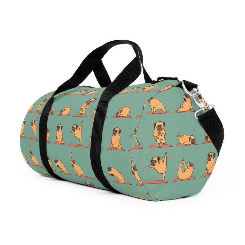 Pug Yoga Accessories Duffel Bag Bag by huebucket's Artist Shop