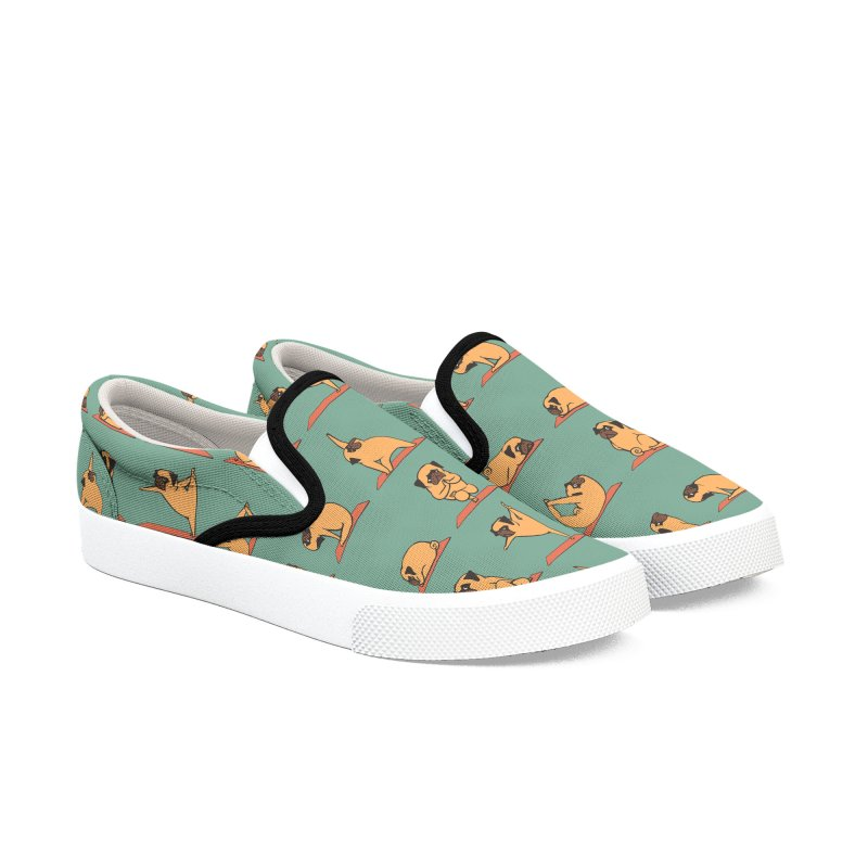 Pug Yoga Women's Slip-On Shoes by huebucket's Artist Shop