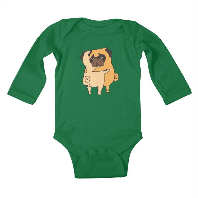 Pug Hugs Kids Baby Longsleeve Bodysuit by huebucket's Artist Shop