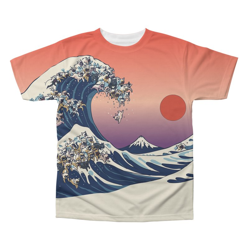 the great wave of frenchie Men's Regular All Over Print by huebucket's Artist Shop
