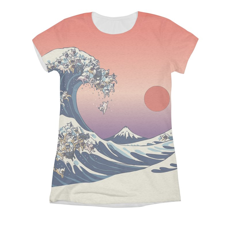 the great wave of frenchie Women's Triblend All Over Print by huebucket's Artist Shop