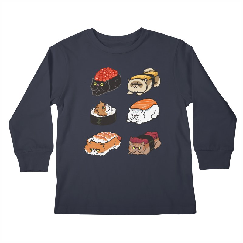 Sushi Persian Cat Kids Longsleeve T-Shirt by huebucket's Artist Shop