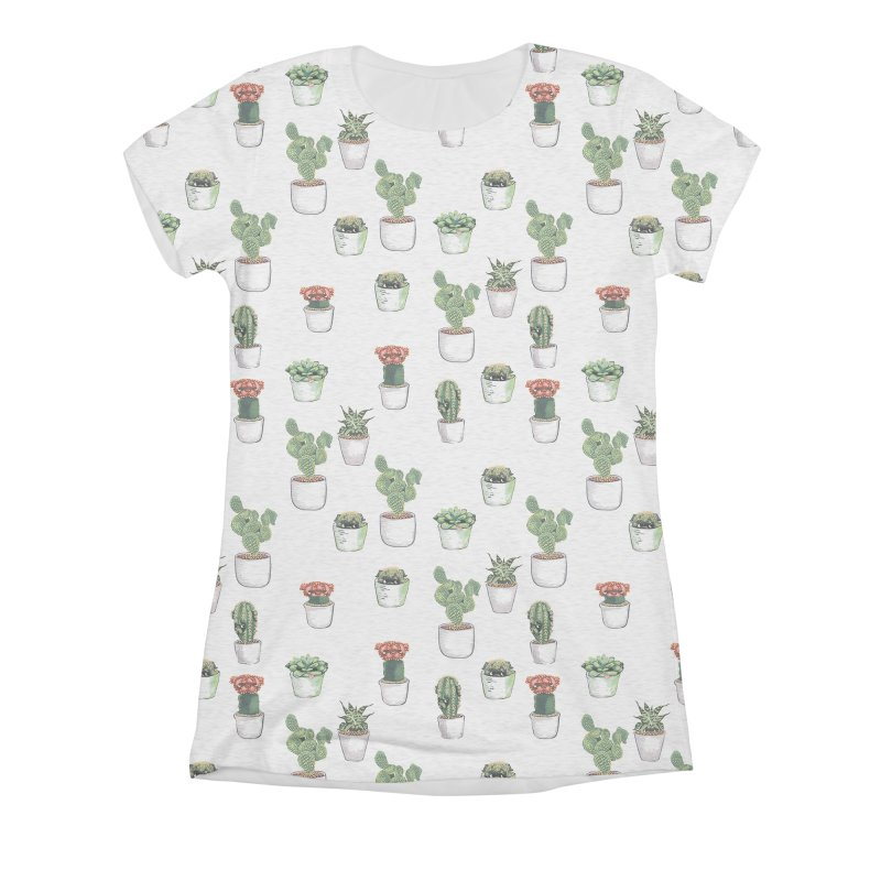 Cacti & Pugculents Women's Triblend All Over Print by huebucket's Artist Shop