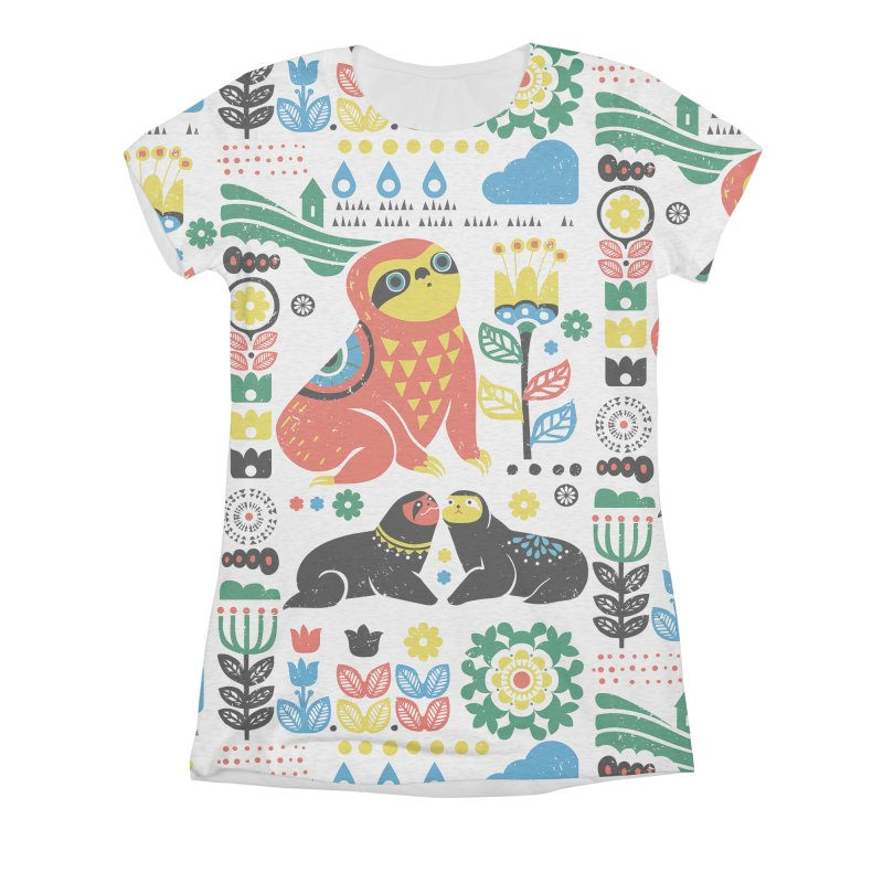 Scandinavian Sloths Women's Triblend All Over Print by huebucket's Artist Shop