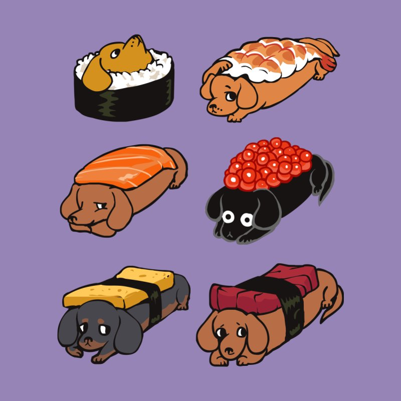 Sushi Daschunds by huebucket's Artist Shop