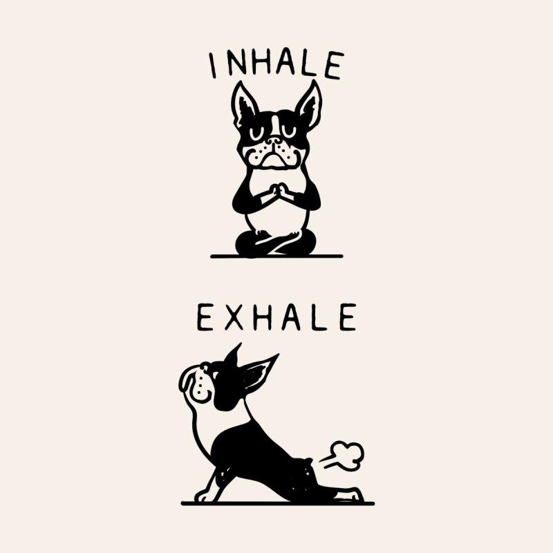 Inhale Exhale Boston Terrier Kids T-Shirt by huebucket's Artist Shop