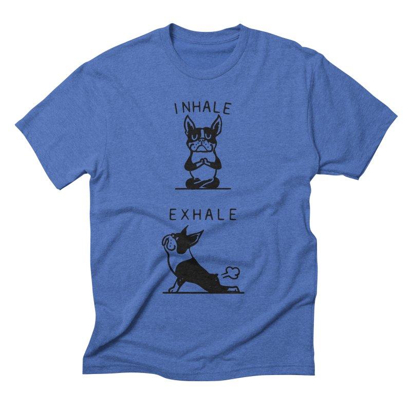Inhale Exhale Boston Terrier Men's T-Shirt by huebucket's Artist Shop
