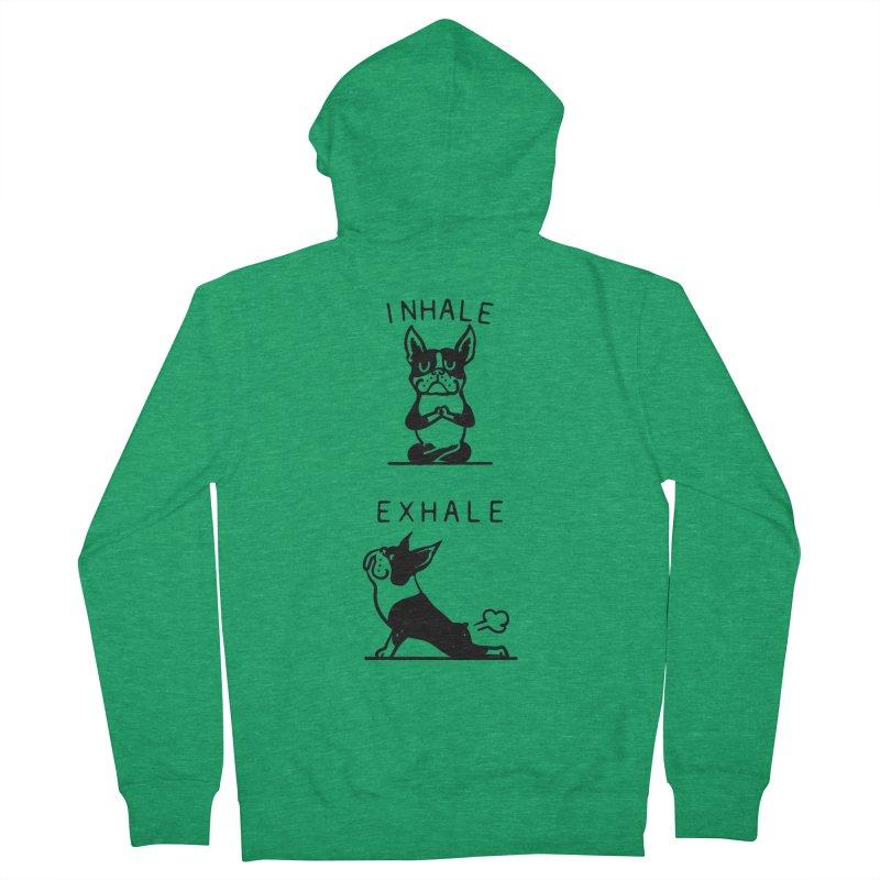 Inhale Exhale Boston Terrier Men's Zip-Up Hoody by huebucket's Artist Shop