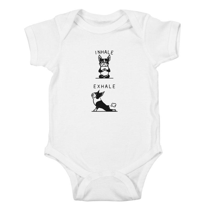 Inhale Exhale Boston Terrier Kids Baby Bodysuit by huebucket's Artist Shop