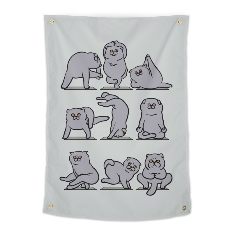Scottish Fold Yoga Home Tapestry by huebucket's Artist Shop