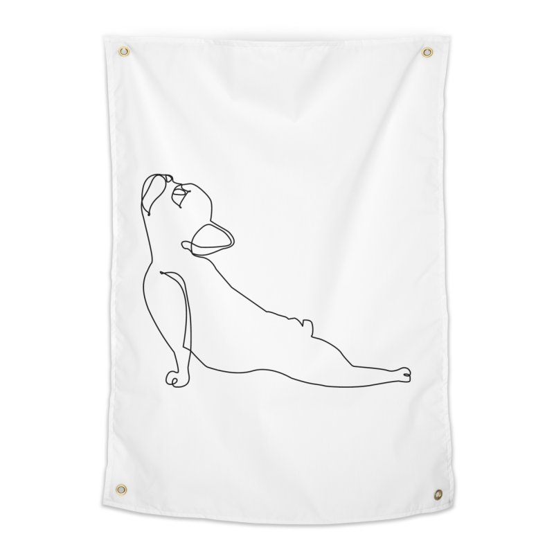 One Line French Bulldog Upward Facing Dog Home Tapestry by huebucket's Artist Shop